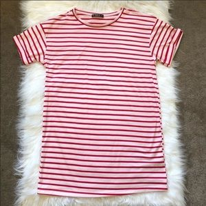 SHEIN Red and Pink Stripped T-Shirt